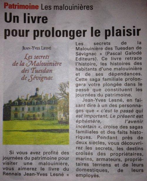 Article Le Pays Malouin 19-09-2013